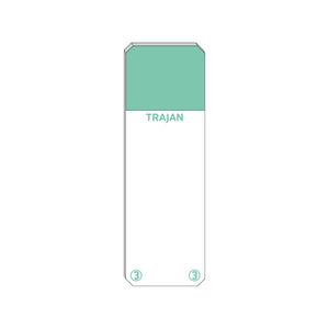Trajan Scientific and Medical, Series 3 Adhesive Microscope Slides, Green, Frost 20 mm, 76 mm x 26 mm
