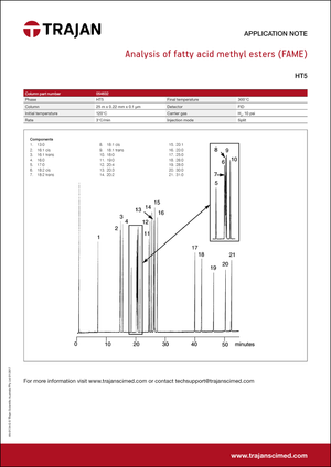 Application Note - Analysis of fatty acid methyl esters (FAME) cover