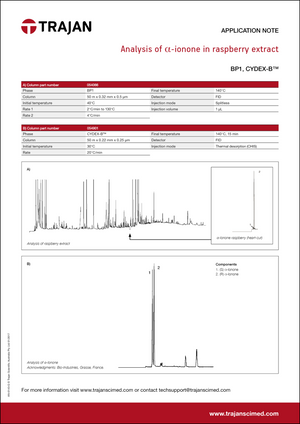 Application Note - Analysis of alpha-ionone in raspberry extract cover