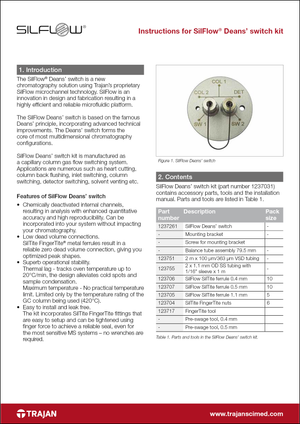 Manual - Instructions for SilFlow Deans' switch kit