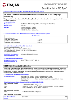 Material safety data sheet - Gas filter kits - FID 1/4""
