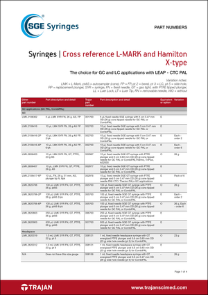 Part Number List - L-MARK and Hamilton X-type syringes cross reference