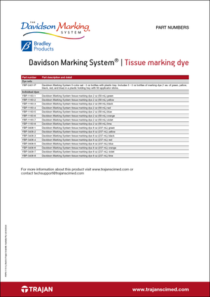 Part Number List - Davidson Marking System