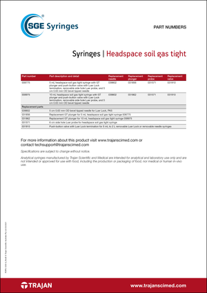 Part Number List - SGE headspace soil gas tight syringes