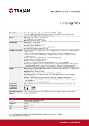 Product Specification Sheet - Histology wax