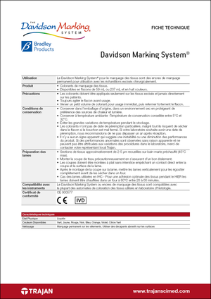 Product Specification Sheet - Davidson Marking System (French)