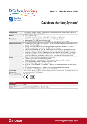 Product Specification Sheet - Davidson Marking System