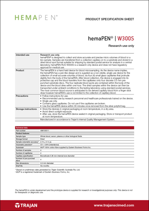 Product Specification Sheet - hemaPEN W300S