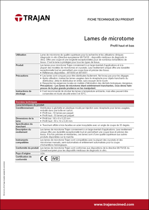 Product Specification Sheet - Microtome blades (French)