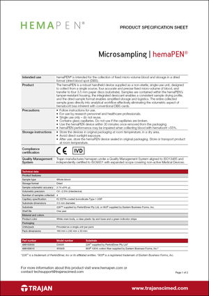 Product Specification Sheet - hemaPEN