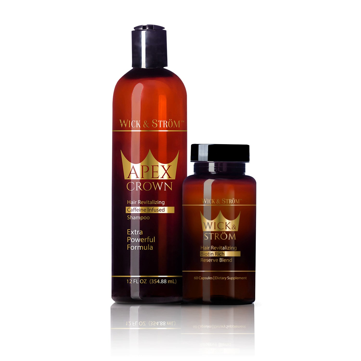 Wick & Ström - Premium Shampoo (12 Ounces) + Hair Vitamins  (120 Day Supply)