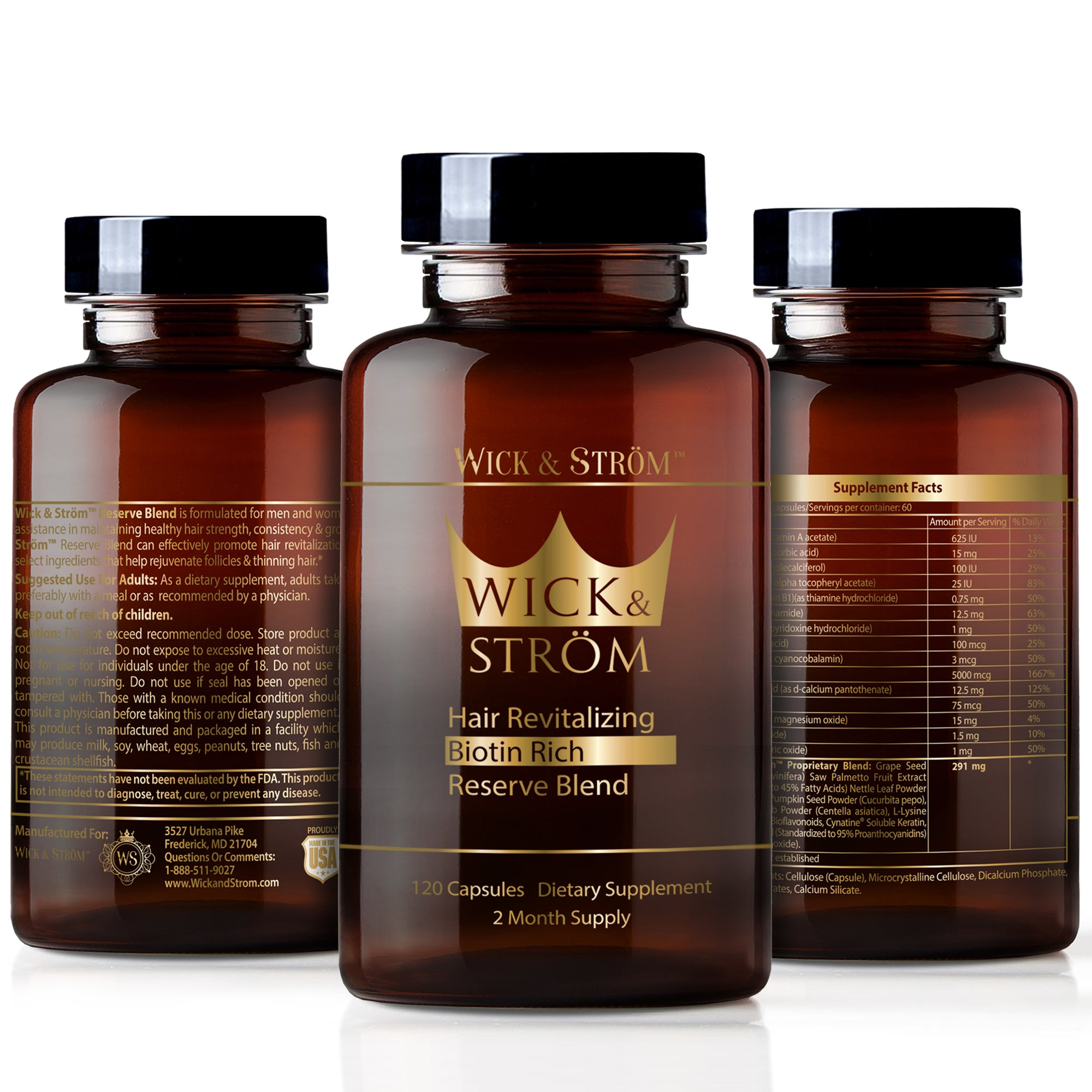 Wick & Ström - Hair Loss Vitamins - 120 Day Supply