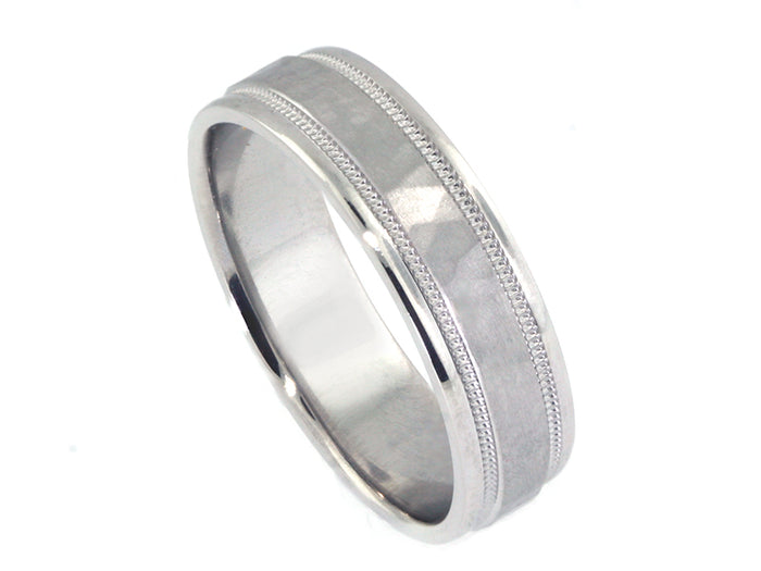 Plat 6mm Hammered Band w/ milgrain & domed-faceted edge