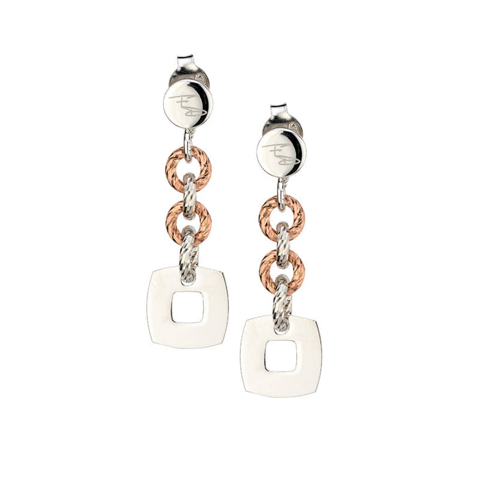 SS Rose Gold Plated Square Drop Earrings