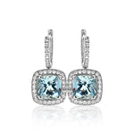Cushion-Cut Aqua & Dias Earr 2=3.02cttw AQ 64RBC=.45c