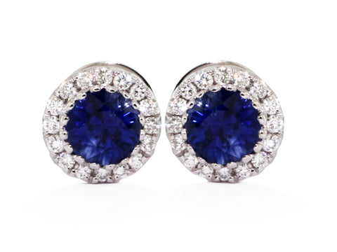 18kwg Rnd Bl Sapp's(2=.93)/Dia(32=.17) Earrings