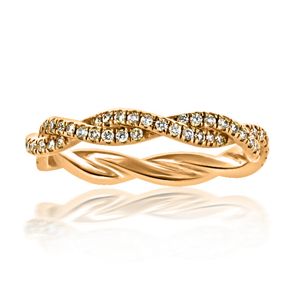 18kt Red Gold Twist Design Dia Eternity Band  88rbc=0.42cts