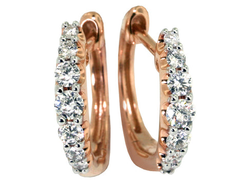 14kt Gold Small Pink Hoop Earrings  14rbc=.38cts t.w.
