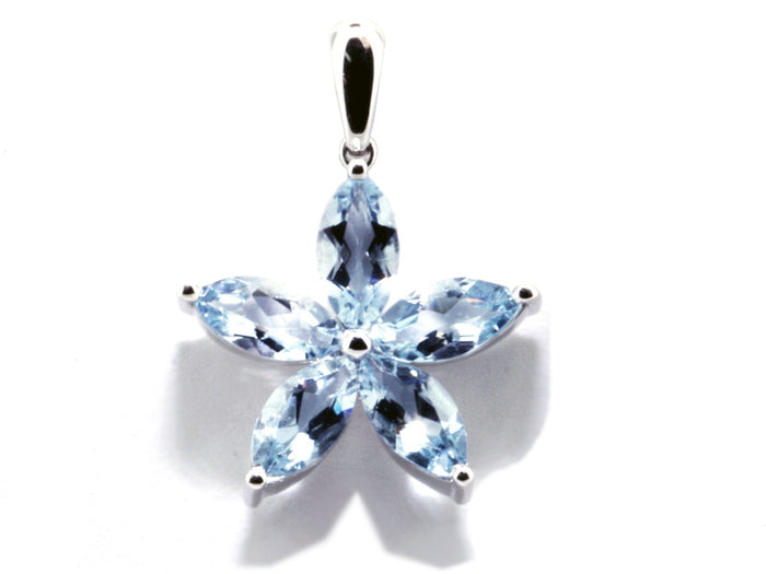 14kw Aqua Flower  5=2.30ct