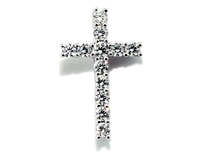 18kwg Diamond Cross Pendant - 12rbc=.41ct tw