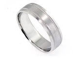 6mm Platinum Brushed-Design Band - milgrain & facet edge