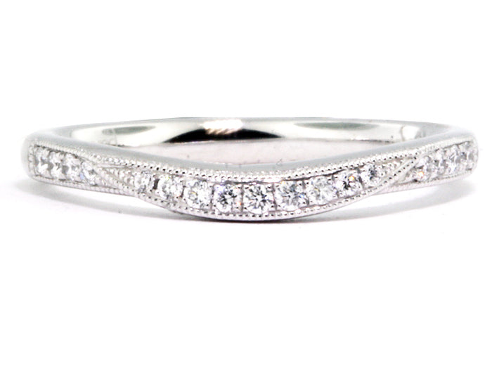 White Gold Curved-Prong Diamond Wedding Band-#071122