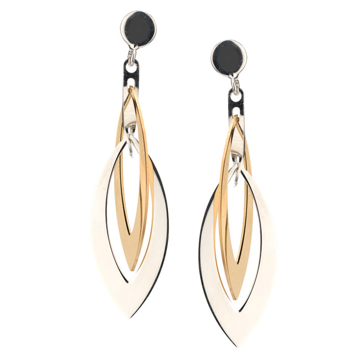 SS & Yellow Gold Layers Marquis Earrings