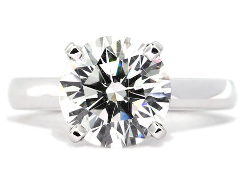Plat Flush-Fit 4prg Eng Mtg for 1ct Round Center Stone