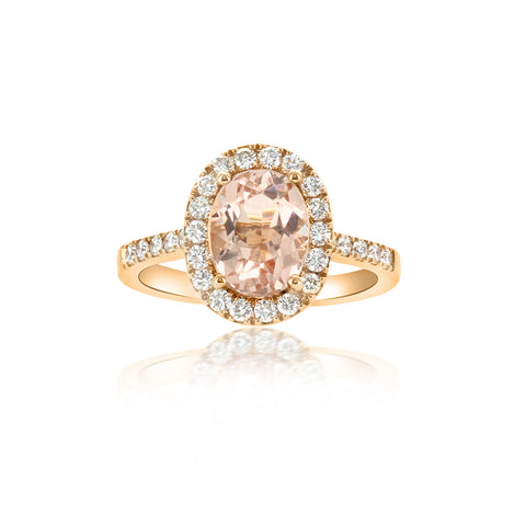 18krg Oval Morganite 1.97) & Dias  (28=.44 ) Ring