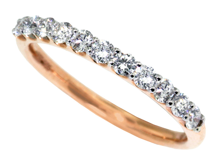 14kt Red-Pink Gold Dia Wedd. Band 11 rbc=0.48cts t.w