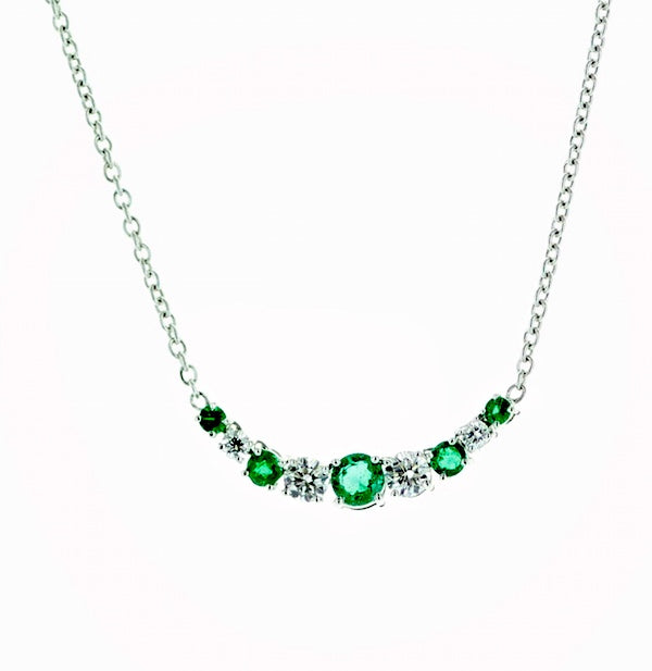 18kwg Emerald (5=0.26) and Diamond (4=.20) Necklace