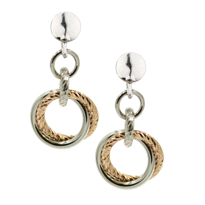 SS ROSE GOLD PLATED SMALL LOVE KNOT EARRINGS