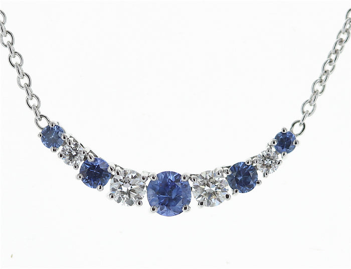 18kwg Sapphire (5=0.34) and Diamond (4=.20) Necklace