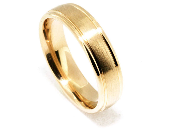 6mm 18kt Yellow Gold Satin Center Band Shiny Edges