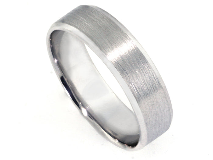 Plat 6mm Satin Finish Band w/ faceted mirror edge