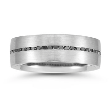 Plat mens wedding band with black diamonds