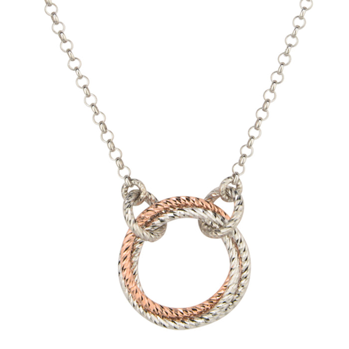 SS Rose Gold Plated Single Love Knot Necklace 19
