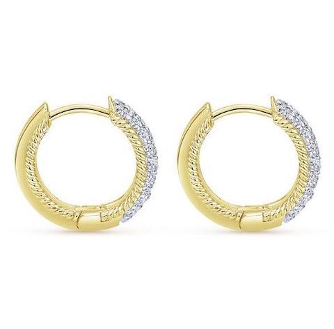 Rope Border Dia Hoops  Pave'  .44cts tw