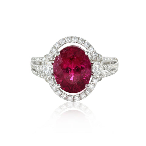 18kwg Oval Rhodolite (3.52) & Diamonds (.83) Ring