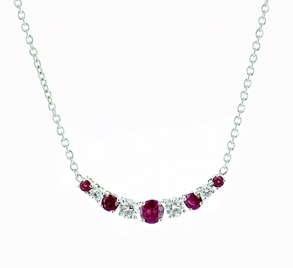 18kwg Ruby (5=0.29) and Diamond (4=.21) Necklace