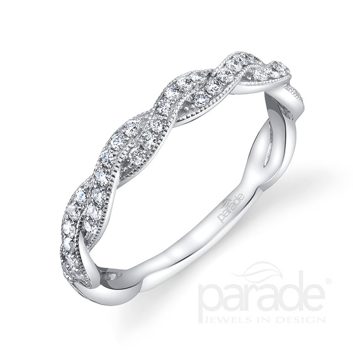 Plat Crossover Wedding Band 39rbc=0.30ct tw
