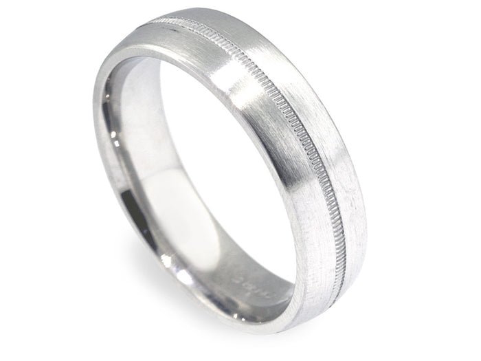 6mm Plat Brushed Finish Band with Milgrain Center Stripe
