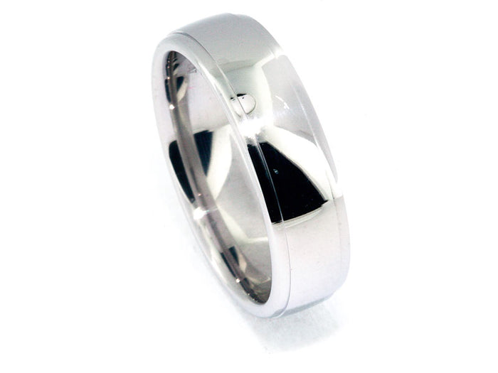 6.5mm Platinum Drop-Edge High Polish Wedding Band
