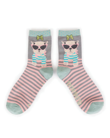 Powder Ankle Sock - Sunglasses Westie in Slate 8607