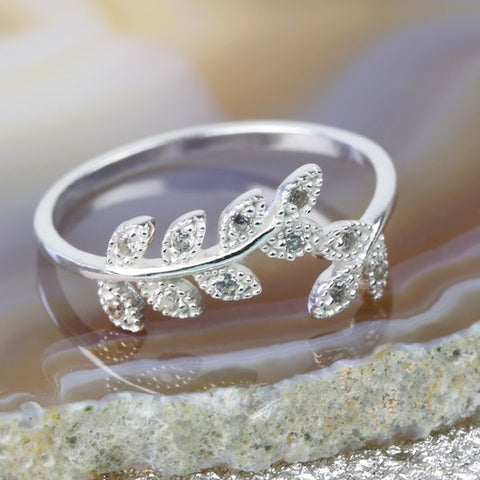Sterling Silver Cubic Zirconia Leaf Ring S/M 11226
