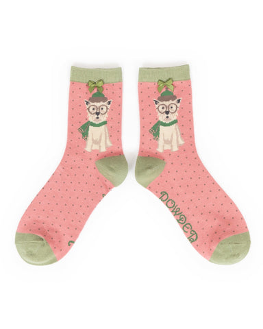 Powder Ankle Sock - Winter Westie in Candy 9184