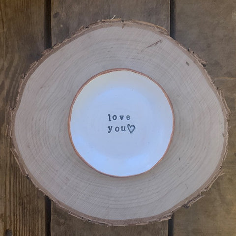 Handmade Clay Dish with Gold Rim - Love You 11027