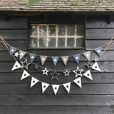 Wooden Bunting - White Flags with Cut Out Stars 9090