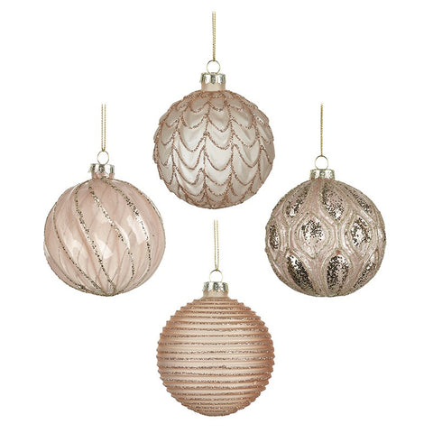 Christmas Baubles Set of 4 - Glass Decorated 10505