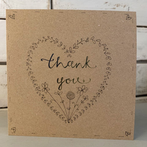 Handmade Heart Wreath Card - Thank You 9921